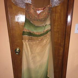 Alyce Design Strapless copper/Green Gown. Sz 6